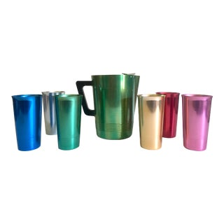 Vintage Mid Century Modern Rare Anodized Spun Aluminum Multicolor Beverage Set - 7Pc For Sale