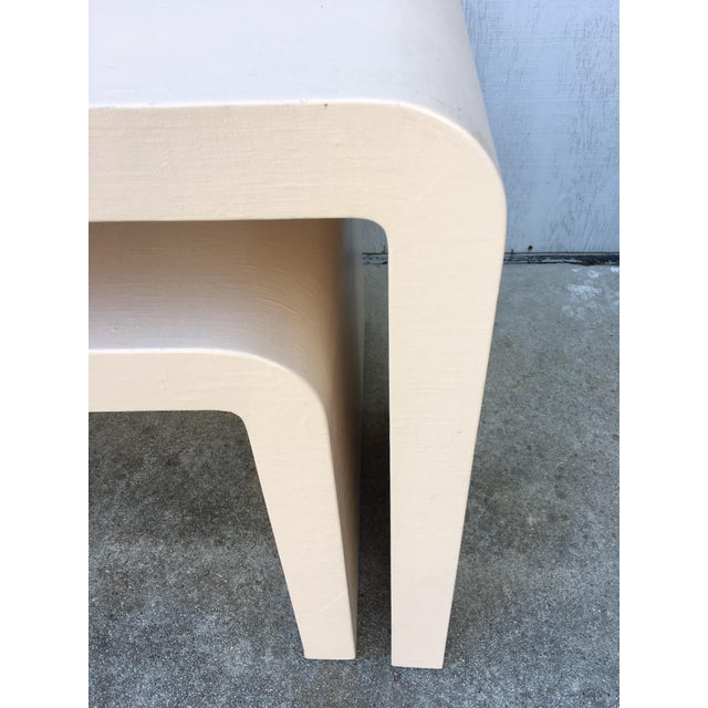 Modernist Waterfall Lacquered Linen Console and Side Table For Sale - Image 6 of 12