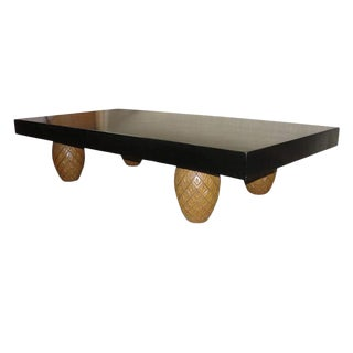 Oversized Coffee Table W/ Pineapple Legs For Sale