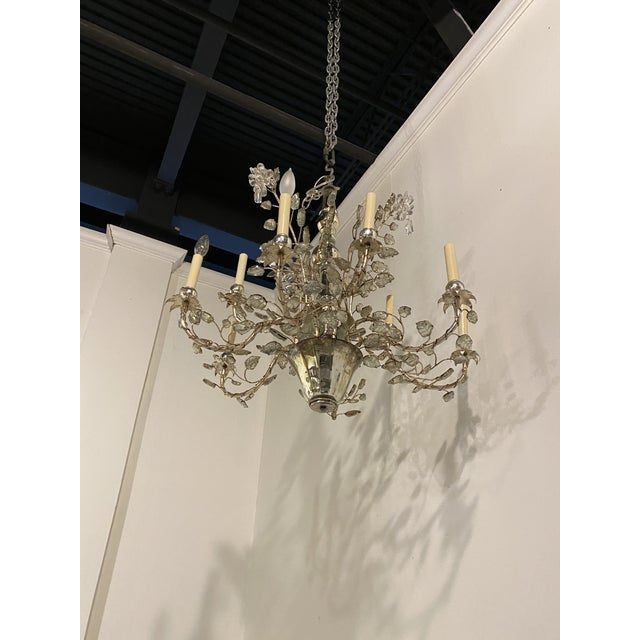 French 1930s French Silver Leaves Chandelier For Sale - Image 3 of 9