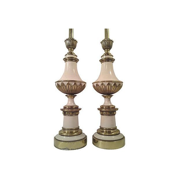 Hollywood Regency Stiffel Tall Table Lamps - Pair - Image 2 of 6