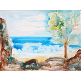 Harold Wallerstein - Beach Landscape Watercolor on Paper For Sale
