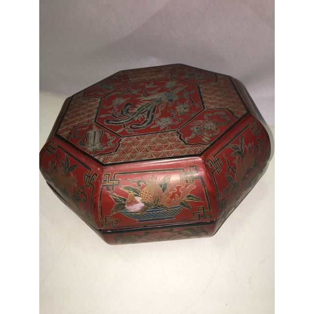 Vintage Red Lacquer Chinese Octagonal Box For Sale - Image 4 of 6