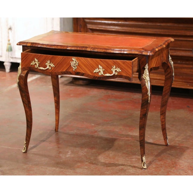 19th Century French Louis XV Marquetry and Bronze Ladies Desk With Leather Top For Sale - Image 9 of 13