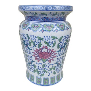 Chinese Style Floral Pattern Garden Stool or Drum Stool For Sale