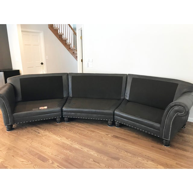 Leather King Hickory Gray-Brown Leather Sectional For Sale - Image 7 of 13