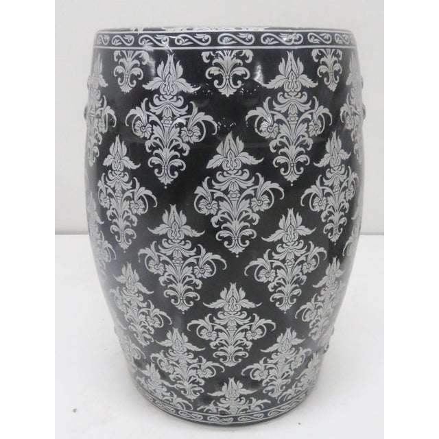 Chinese Black & Silver Leaf Garden Stool For Sale - Image 5 of 5