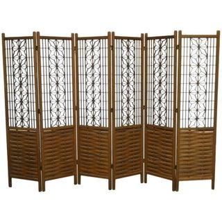 Mid-Century Six Panel Folding Geometric Screen