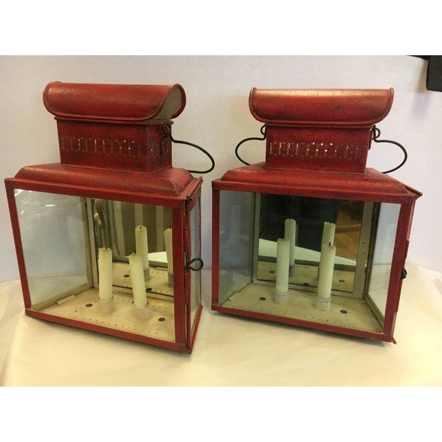 Antique Red Tole Lanterns Sconces Candleholders For Sale - Image 9 of 9