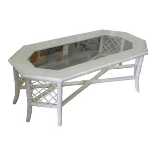 1970s Ficks Reed Faux Bamboo Coffee Table For Sale