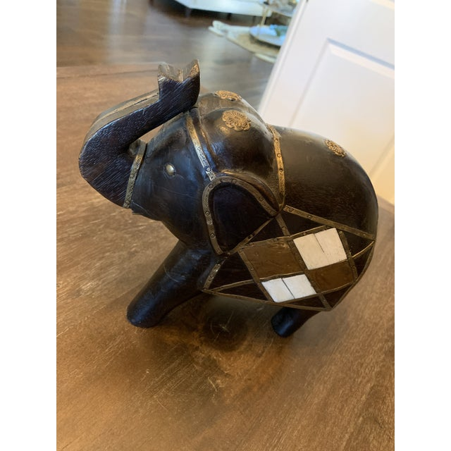 African Carved Wood & Brass Elephant Figurine For Sale - Image 3 of 11