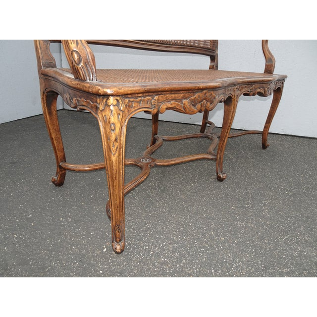 Vintage Martin of London French Country Brown Ornately Carved Cane Settee For Sale - Image 11 of 13