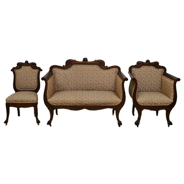 Antique Mahogany 3pc Parlor Set : Settee , Arm Chair , Chair For Sale - Image 11 of 11