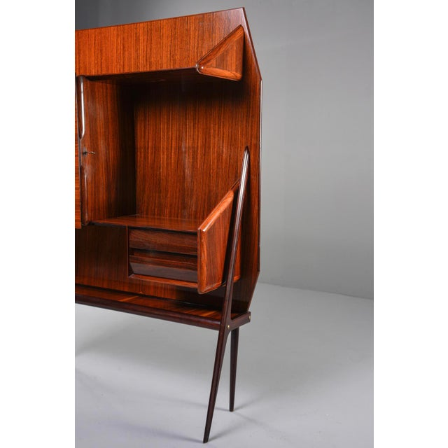 Mid Century Italian Free Standing Rosewood Wall Unit With Marquetry For Sale - Image 11 of 13