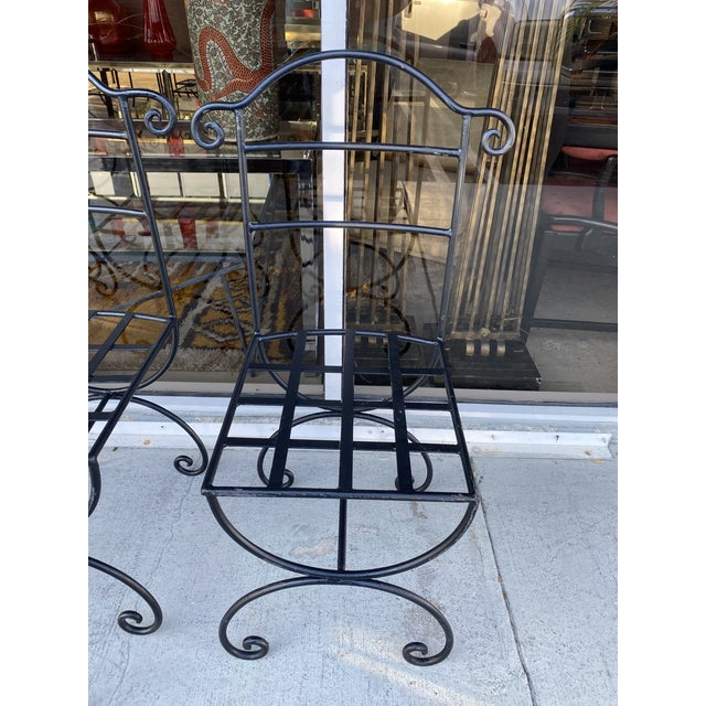Wrought Iron Asian Inspired Set of 6 Patio Chairs For Sale - Image 9 of 13