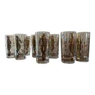 Culver Mardi Gras Jester Glasses - Set of 8 For Sale