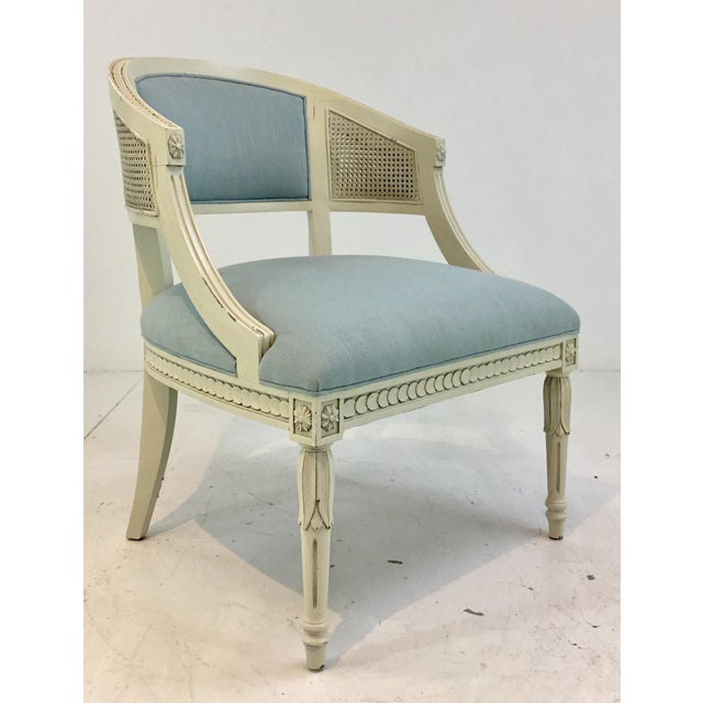 Elegant Hickory Chair Transitional Le Clerc Ivory Cane Chairs Pair, light blue linen style fabric, antiqued wood frame,...