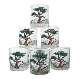 Couroc Lone Cypress Tree Rocks Lowball Glasses - Set of 7 For Sale