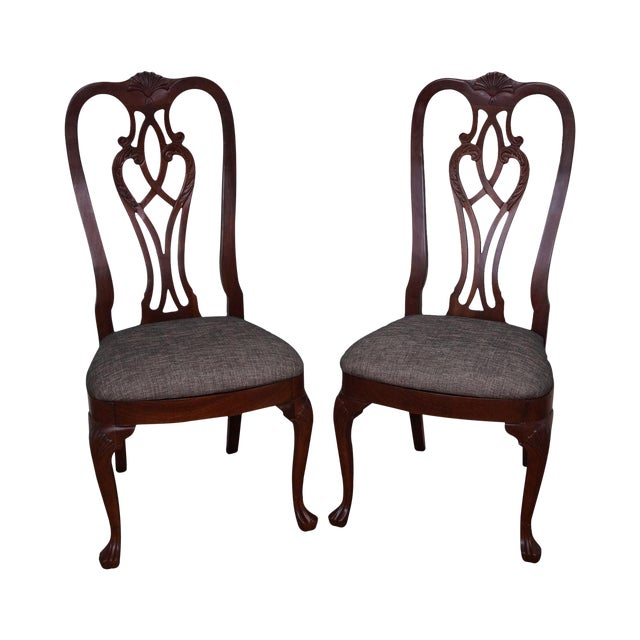 Ethan Allen 18th Century Collection Mahogany Side Dining Chairs - a Pair For Sale