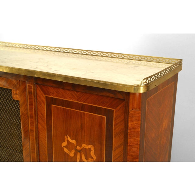 French Louis XVI kingwood and inlaid veneer high cabinet with three doors (grill center door) with a white marble top with...