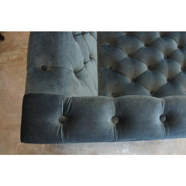Blue Vintage Blue Tufted Modern Velvet Upholstered Sofa For Sale - Image 8 of 13