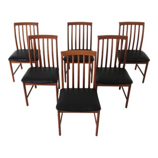 1960s Vintage Dux of Sweden Teak Dining Chairs- Set of 6 For Sale