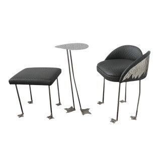 Studio Brass Ostrich Chair Bench Table Set