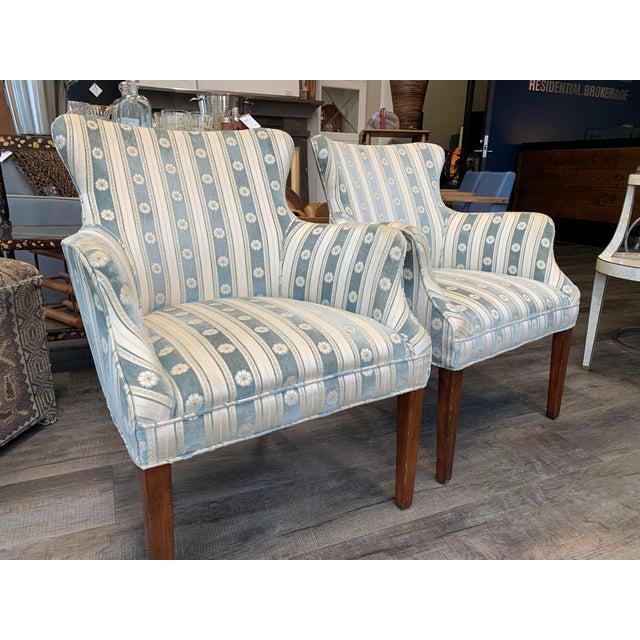 1940s Cream & Blue Velvet Boudoir Chairs - a Pair For Sale - Image 4 of 10