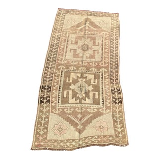 1950s Vintage Turkish Oushak Rug - 4′ × 8′6″ For Sale