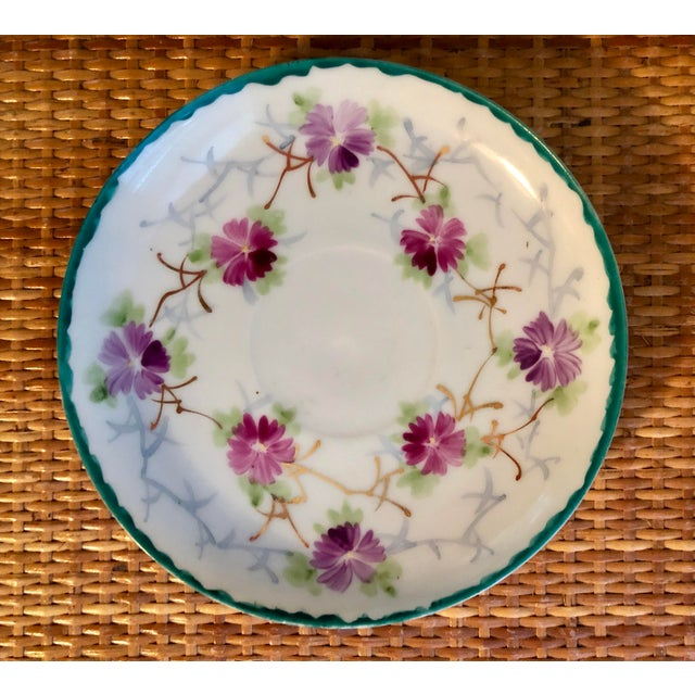 Early 20th Century Shabby Chic White Porcelain Plate With Pink and Purple Flowers For Sale In Charleston - Image 6 of 6