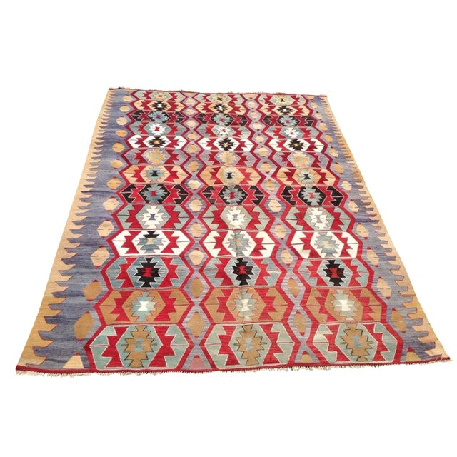 "Vintage Turkish Kilim Rug - 6'9"" x 9'3"" - Image 1 of 7"