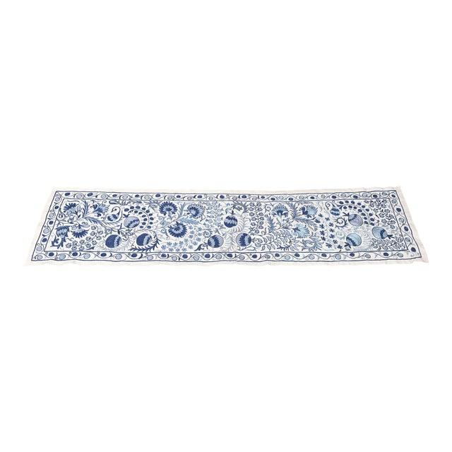 Blue Suzani Silk Table Runner - Image 1 of 6