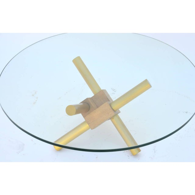 Late 20th Century Small Round Tripod Brass and Glass Coffee Table For Sale - Image 5 of 7