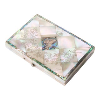 Antique Carte Du Visite Case of Mother of Pearl and Abalone For Sale