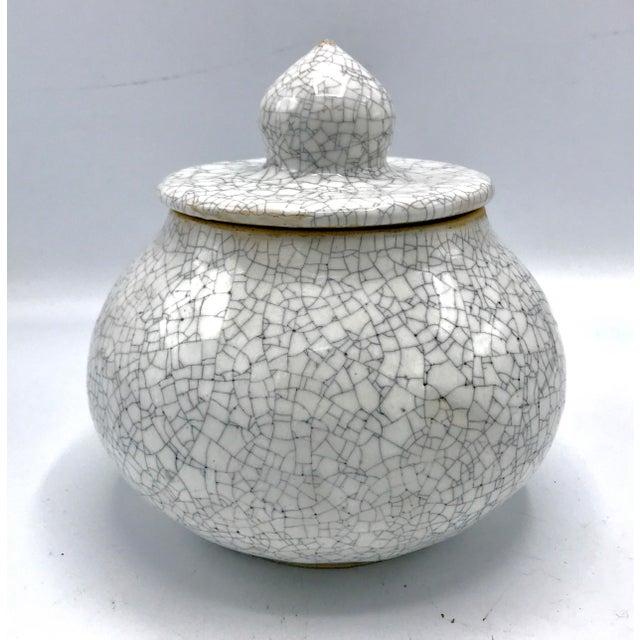 Asian Studio Pottery Signed Crackle Glaze Lidded Ginger Jar For Sale - Image 3 of 13