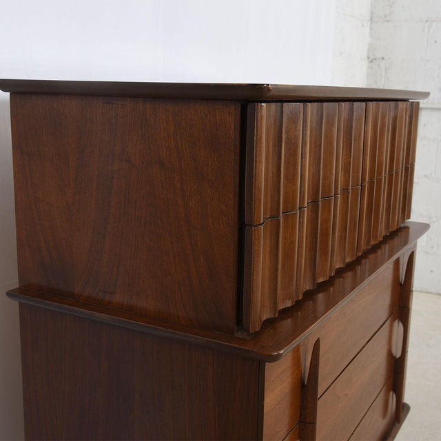 Mid Century Modern Tall Walnut Dresser - Image 6 of 7