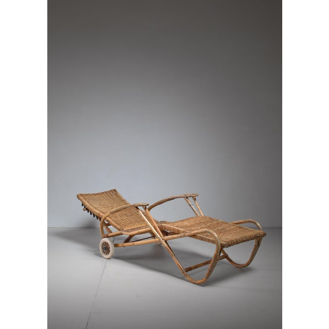 Bauhaus Adjustable Bamboo and Rattan Chaise With Wheels, Germany, 1920s-1930s For Sale - Image 3 of 7
