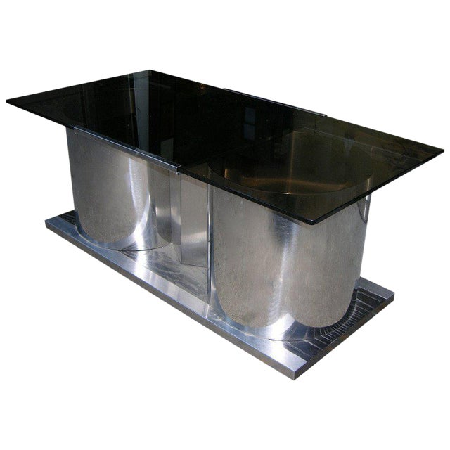 1970s Italian Smoked Glass Coffee Table With Dry Bar For Sale