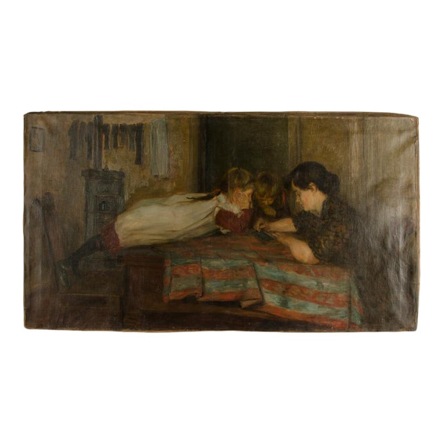 """19th Century """"Family Time"""" Figurative Oil Painting For Sale"""