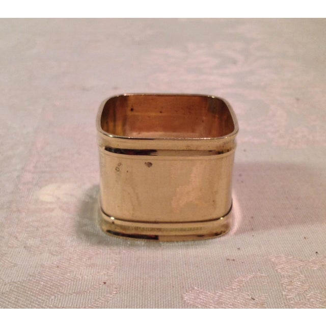 Gold Mid-Century Modern Square Brass Napkin Rings - Set of 6 For Sale - Image 8 of 9