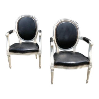 Mid 19th Century Louis XVI Black & White Leather Armchairs - a Pair For Sale