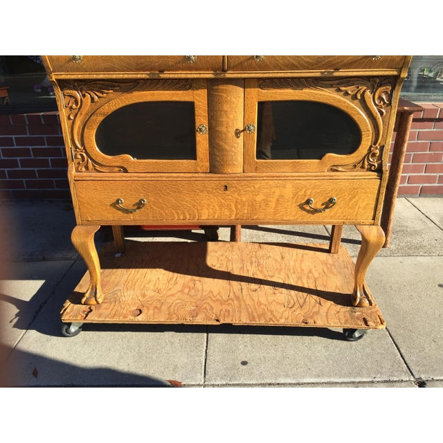 Victorian Oak Sideboard Server With Carved Griffins - Image 6 of 9