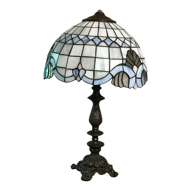 Tiffany Style Vintage Stained Glass Lamp Shade, Brushed Gold Base,Victorian Boudoir, Reduced Final For Sale