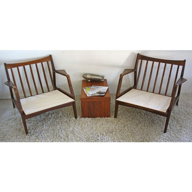 Distressed Pair of IB Kofod Danish Lounge Chairs For Sale - Image 7 of 8
