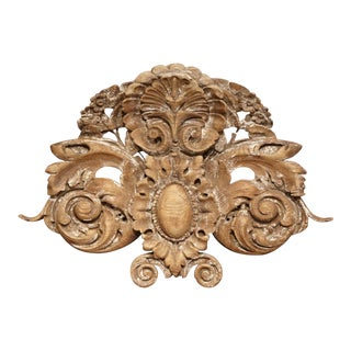 18th Century French Carved Oak Painted Wall Sculpture With Center Shell Motif For Sale