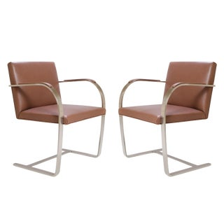 Mies Van Der Rohe for Knoll Cognac Leather Brno Flat-Bar Chairs - A Pair