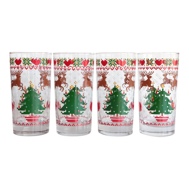 8-Bit Pixel Style Christmas Glasses - Set of 4 For Sale