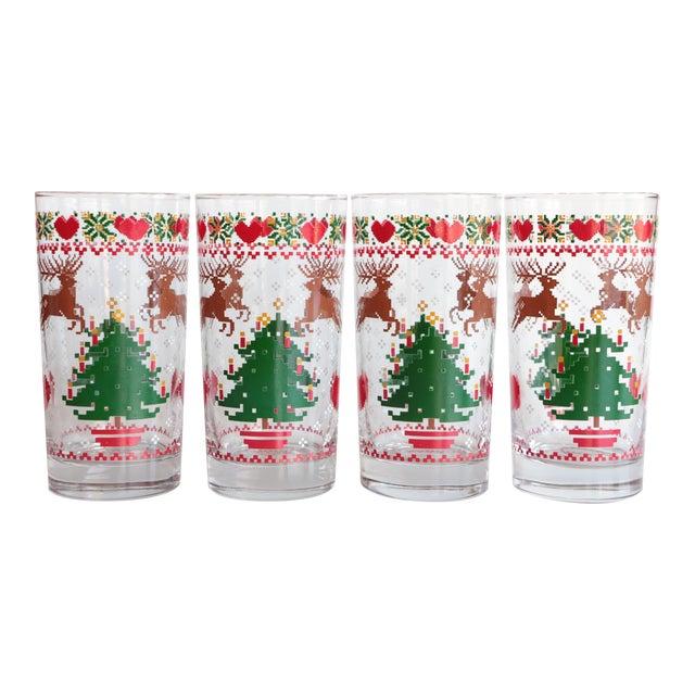 8-Bit Pixel Style Christmas Glasses - Set of 4 - Image 1 of 5