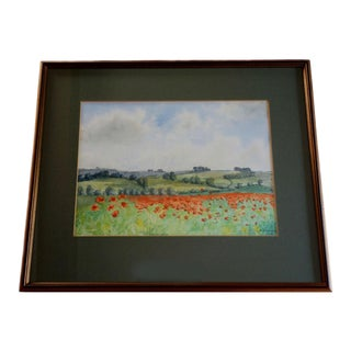 """1989 English """"A Field of Poppies"""" Watercolor Painting by Dorothy Vaughan For Sale"""