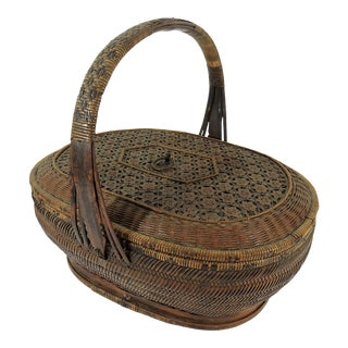 Late 19th. Century Antique Chinese Triple Woven Lidded Canton Basket For Sale